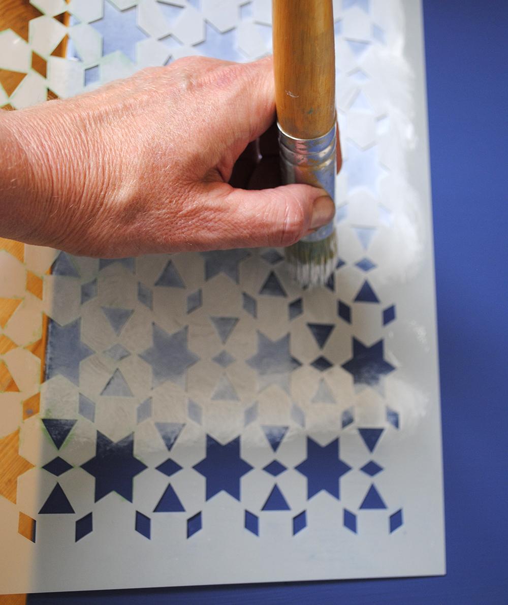 blue stencilling