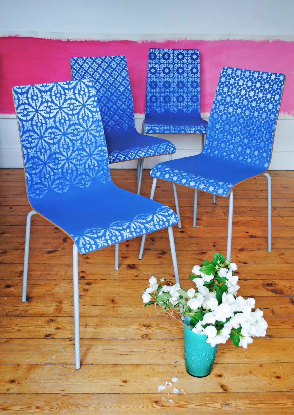 Nicolette Tabram Ombre Stencil Chairs